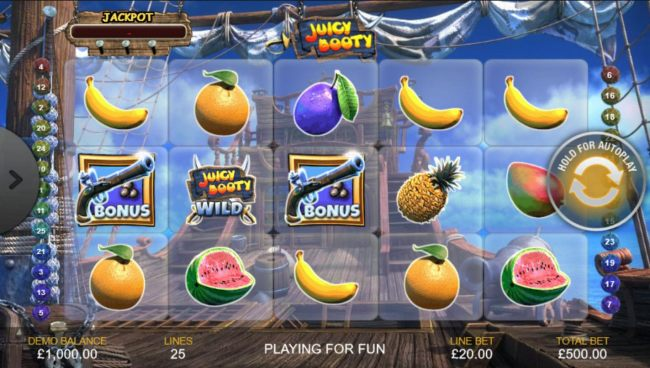 A piratefruit themed main game board featuring five reels and 25 paylines with a $200,000 max payout