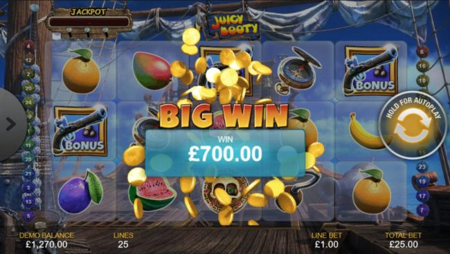 A 700.00 Big Win paid out as a result og playinf the Fruit Shoot Bonus feature.