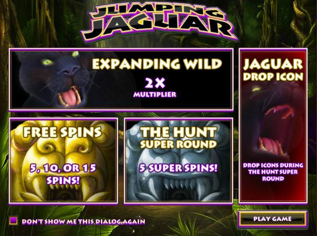 Game features include: Expanding Wilds, Free Spins, The Hunt Super Round and Jaguar Drop Icons