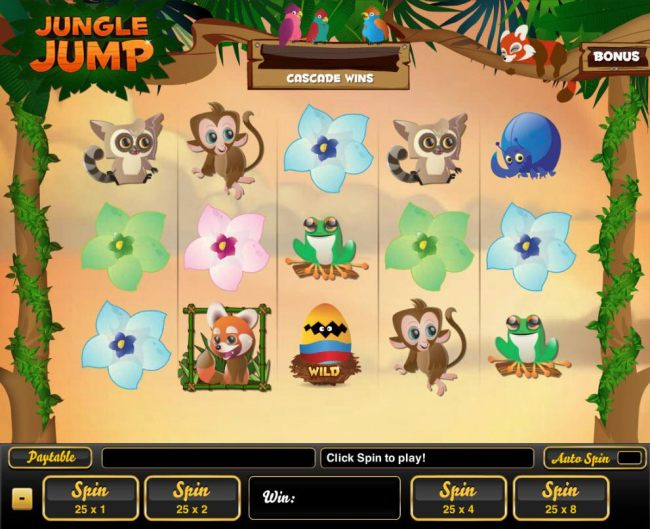 An animal adventure themed main game board featuring five reels and 25 paylines with a $12,000 max payout