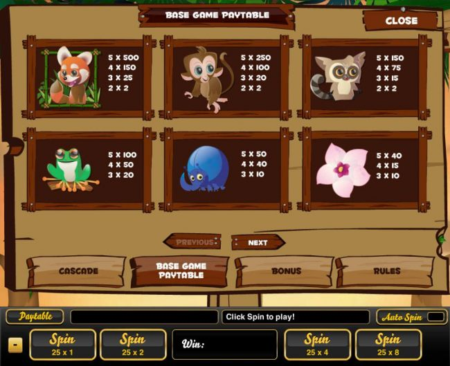 High value slot game symbols paytable featuring animal themed icons.