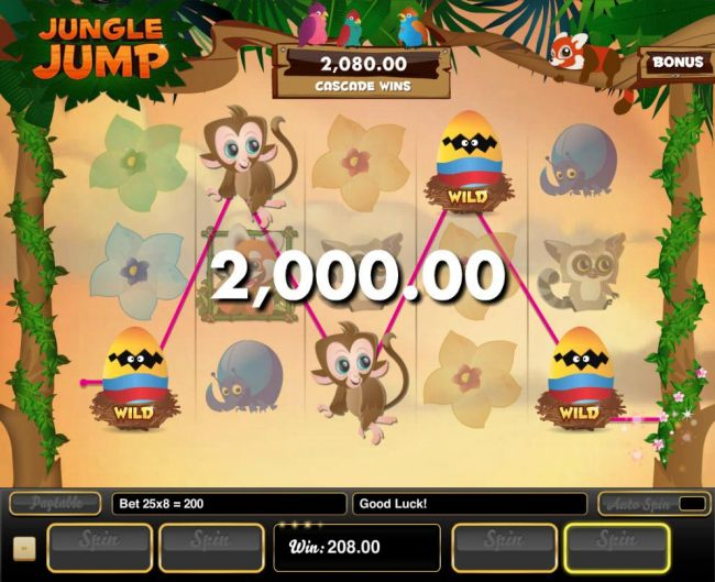 A winning Five of a Kind leads to a 2,000.00 super win.