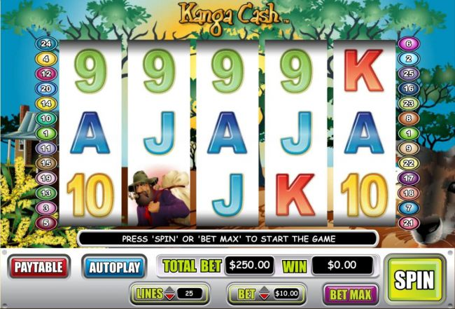 An Australian kangaroo themed main game board featuring five reels and 25 paylines with a $100,000 max payout.