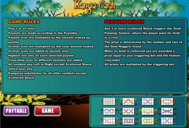 General Game Rules, Bonus Feature and Payline Diagrams 1-25.