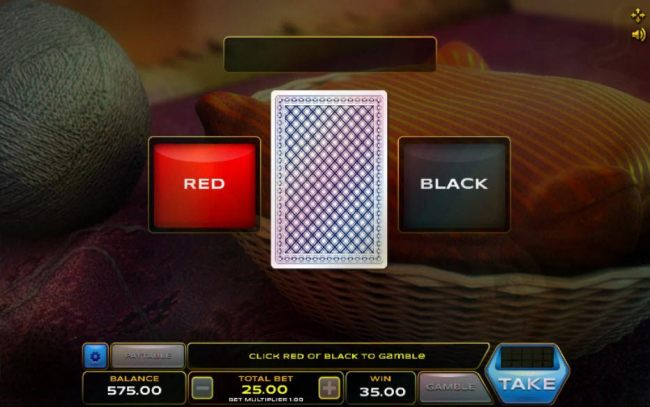 Gamble feature game board is available after every winning spin. For a chance to increase your winnings, select the correct color of the next card or take win.