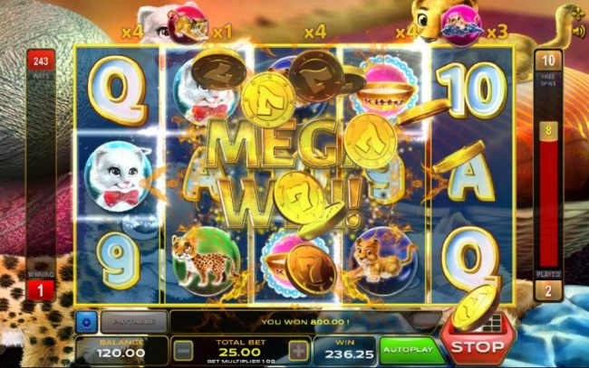 An 800.00 mega win triggered during the free spins feature.