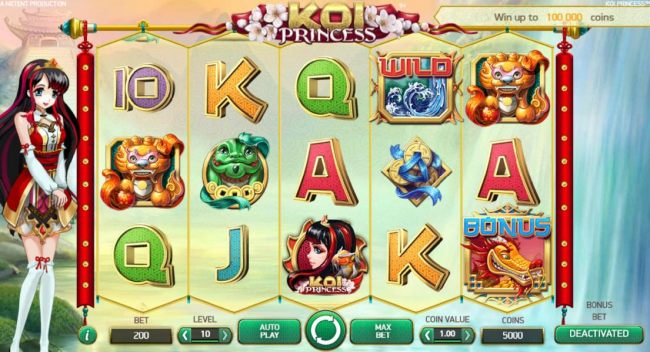Main game board based on an Asian anime woman theme, featuring five reels and 20 paylines with a $1,00,000 max payout