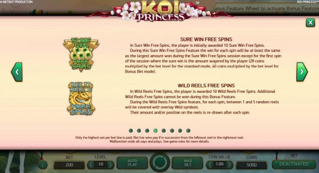 Sure Win Free Spins and Wild Reels Free Spins game rules