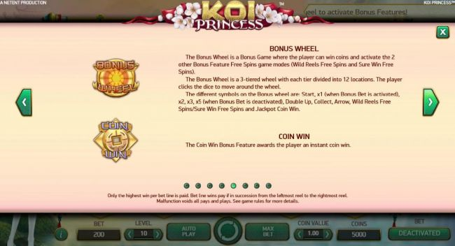 Bonus Wheel and Coin Win game rules