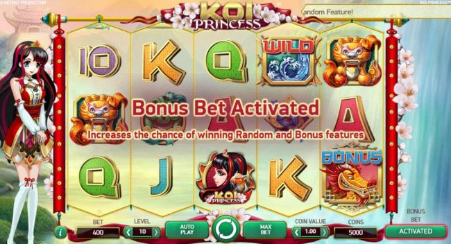 Activating the Bonus Bet increases the chance of winning Random and Bonus Features