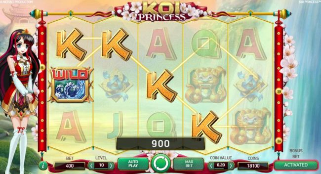 Multiple winning paylines triggers a 900 coin big win!