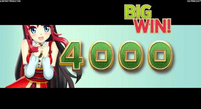 The Coin Win feature awards 4000 coins for a big win!