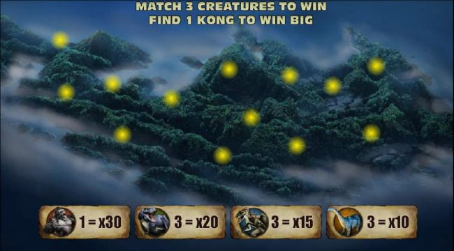match 3 creatures to win, find 1 kong to win big