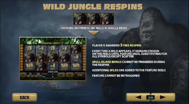 wild jungle respins with 3 or more anywhere on reels in jungle mode