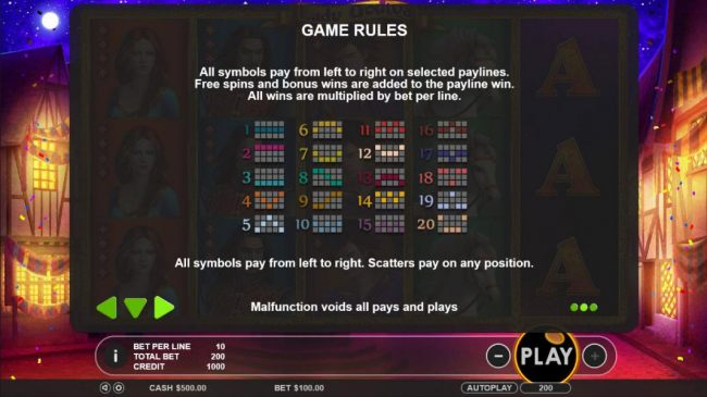Payline Diagrams 1-20. All symbols pay from left to right on selected paylines. Free spins and bonus wins are added to the payline win. All wins are multiplied by bet per line.