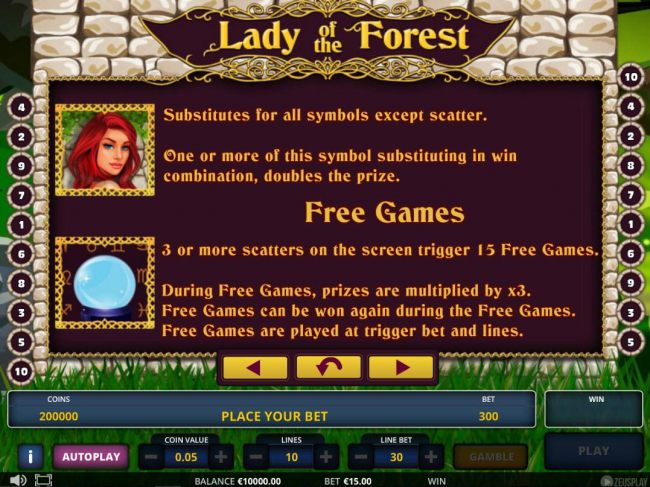 Lady is wild and substitutes for all symbols except scatter. 3 or more scatters on the screen trigger 15 free spins.