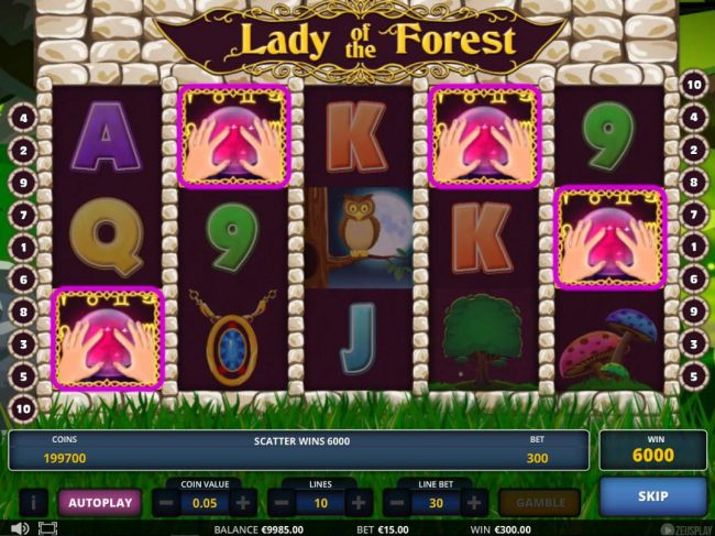 Landing 3 or more Crystal Ball scatter symbols anywhere on the screen triggers a cash prize and free games feature.