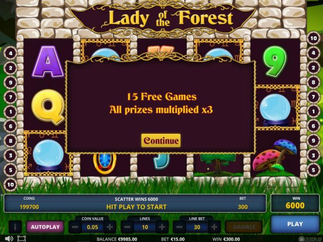 15 free games awarded with all prizes multiplied by 3x.