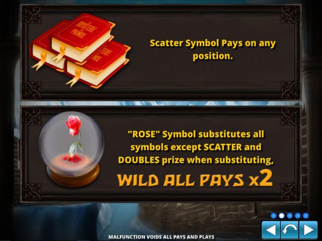 Scatter symbols pays on any position. Rose symbols substitutes for all symbols except scatter and doubles prize when substituting