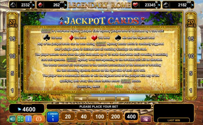 Jackpot Cards Mystery Bonus - Any of the jackpot levels can be won during the bonus feature which is randomly triggered.