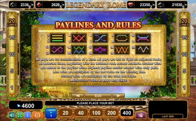 Payline Diagrams 1-20. All pays are for combinations of a kind. All pays are left to right on adjacent reels, on selected lines, beginning with the leftmost reel, except scatters.