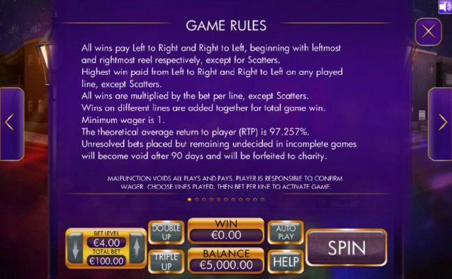 General Game Rules. The theoretical RTP for this game is 97.257%