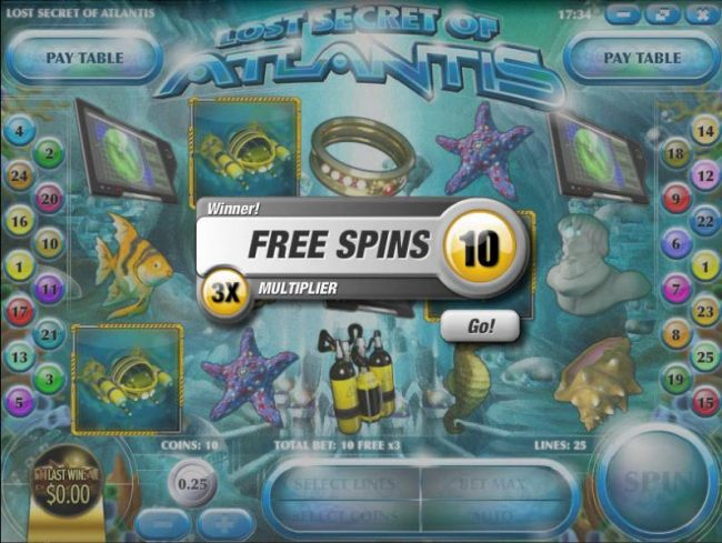 10 free spins with a 3x multiplier awarded