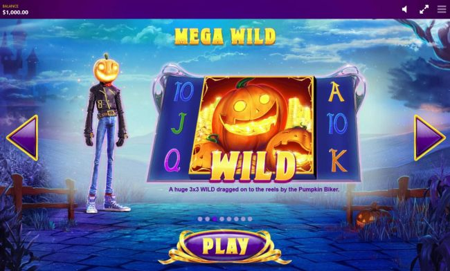 Mega Wild - A huge 3x3 wild dragged on to the reels by the Pumpkin Rider.