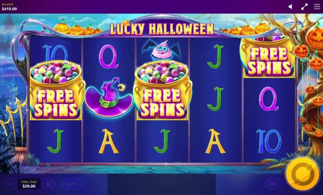 Free Spins feature triggered when 3 free spins symbols appear on the reels.