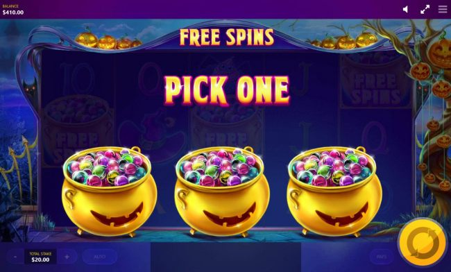 Pick one pot of marbles to reveal how many free spins you win.