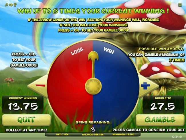 Gamble Feature Game Board - Win up to 8 times your current winning! If the arrow lands on the win section, your winnings will increase! if not, you will lose your winnings!