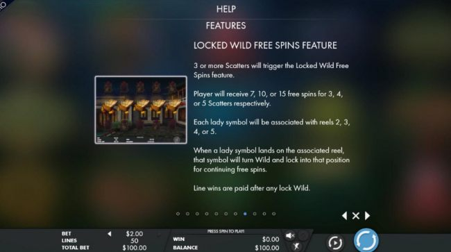3 or more scatters will trigger the Locked Wild Free Spins feature
