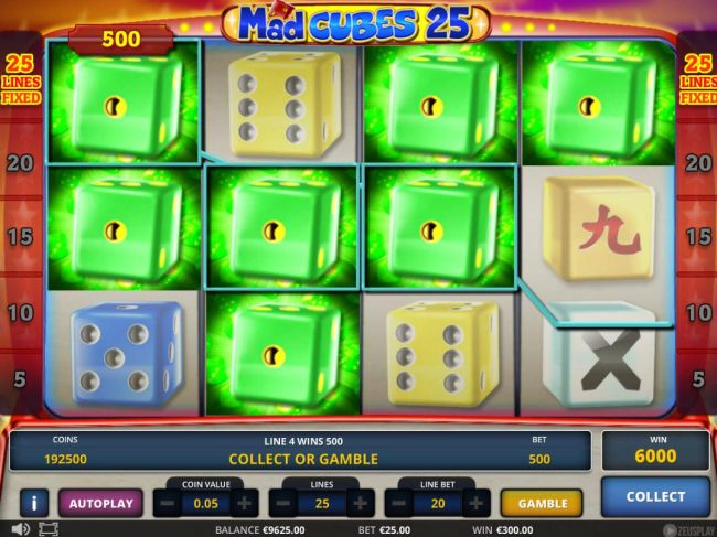 A 6000 coin jackpot triggered by multiple winning green dice
