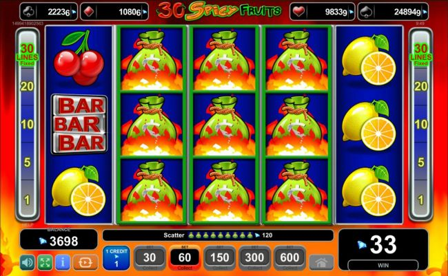 Seven or more money bags scatters on reels 2, 3 and 4 triggers the free spins feature
