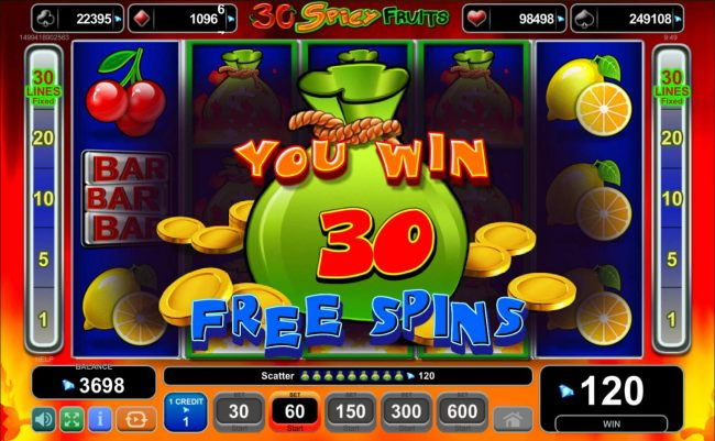 30 free spins awarded