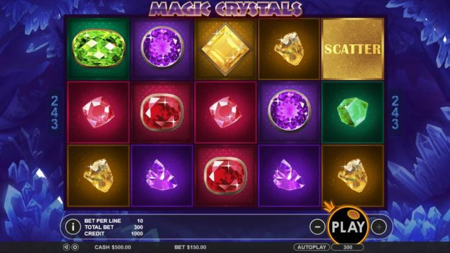 Main game board featuring five reels and 243 winning combinations with a $6,250 max payout