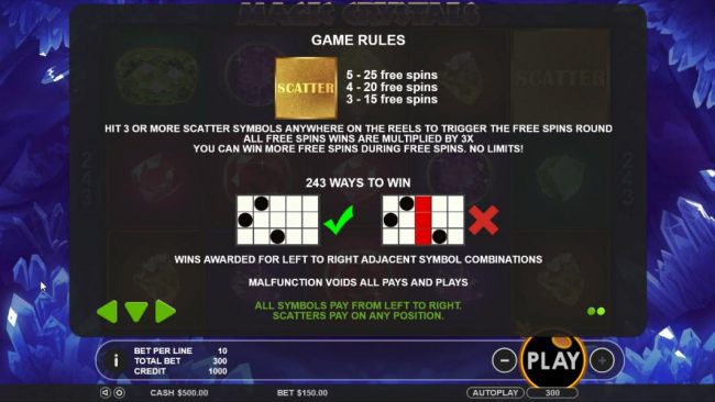 hit 3 or more scatter symbols anywhere on the reels to trigger the free spins round. All free spins wins are multiplied by 3x. You can win more free spins during free spins. No limits!