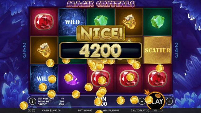 A 4200 coin big win triggered by multiple winning combinations.