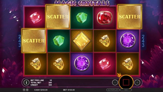 Three scatter symbols anywhere on the reels triggers the free spins feature.