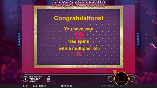 15 free spins awarded with a 3x multiplier.