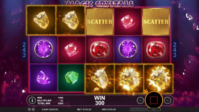 A five of a kind triggered during the free spins feature leading to a 300 coin jackpot.
