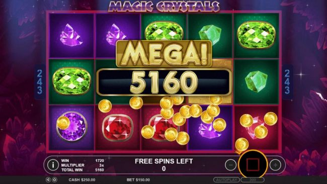 A 5160 coin mega win paid out at the end of the free spins feature.