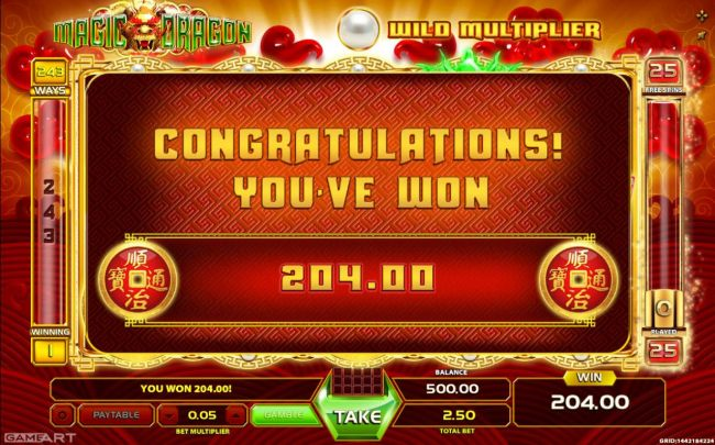 Total Free Games payout 204.00
