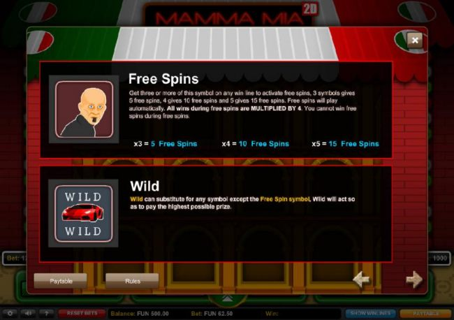 Free Spins Paytable with rules and Wild Symbol game rules