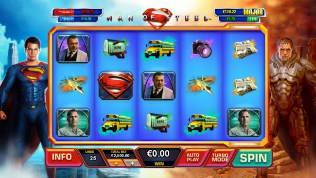 A superhero themed main game board featuring five reels and 25 paylines with a progressive jackpots max payout