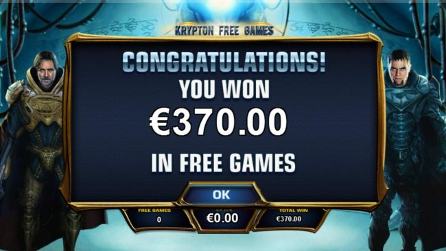 Krypton Free Games feature pays out a total of 370.00.