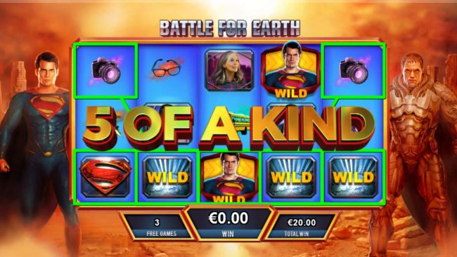With Superman winning the battle a Five of a Kind is triggered resulting in a big win during the Battle for Earth bonus feature.