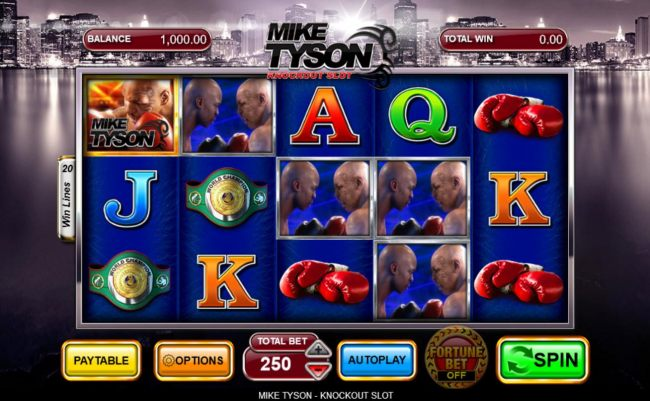 Main game board featuring five reels and 20 paylines with a $250,000 max payout.