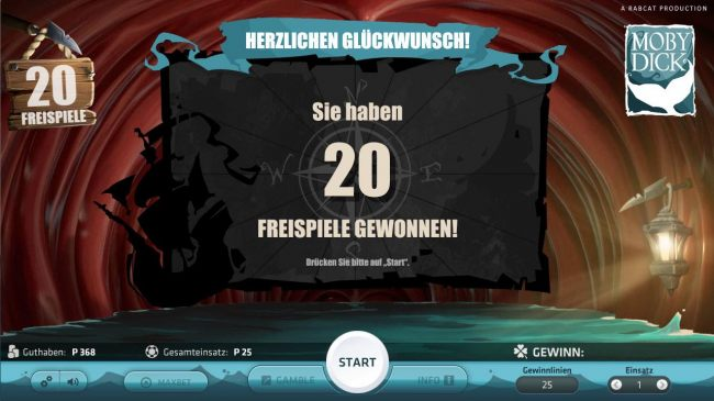 20 free spins awarded