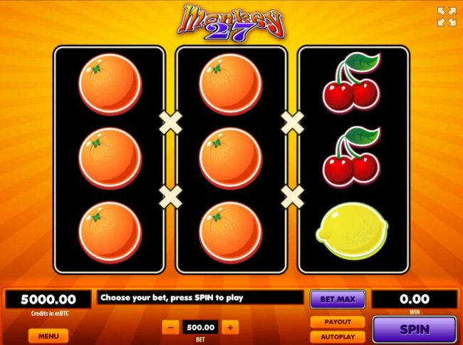 A fruit themed main game board featuring three reels and 27 paylines with a $926,000 max payout